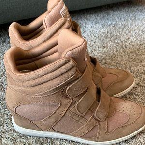 Skechers suede wedge sneakers